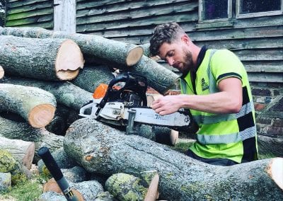Safety checking, sharpening chainsaw